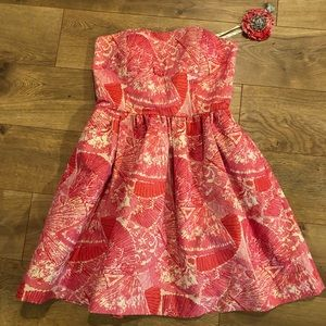 Lilly Pulitzer Pink floral strapless dress 0